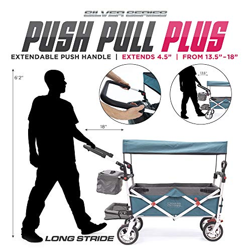 Creative Outdoor Push Pull Collapsible Folding Wagon   Silver Series Plus   Beach Park Garden & Tailgate   Teal/Gray with Canopy