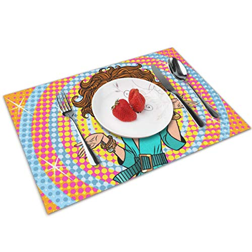 Hangdachang Glamorous Diva Surprised Placemats Non-Slip Stain Heat-Resistant Table Mat Set Of 4 For Dining Home Kitchen Decoration 12x18 Inch