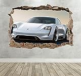 Wall Decor 247 Porsche Mission E Concept Breakout Smashed Wandtattoo Super Car Mural – Medium Querformat 50 cm (B) x 35 cm (H)