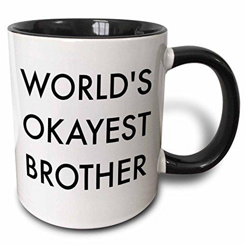 3dRose Worlds Okayest Brother In Bold Font Mug, 11 oz, Black