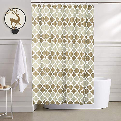 "Shower Curtain, Beige Moroccan Shower Curtain, Waterproof Geometric Trellis Print Bathroom Decorative Curtains for Hotel Spa, Bathtub Bathing Cover, 72"" x 72"""