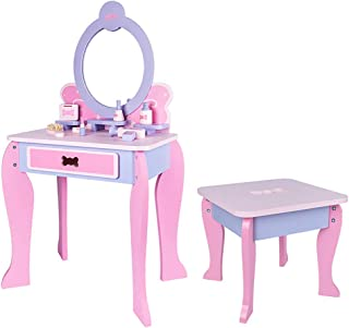 Children's Wooden Simulation Dressing Table Girl Princess Makeup Table Makeup Jewelry Toy Set