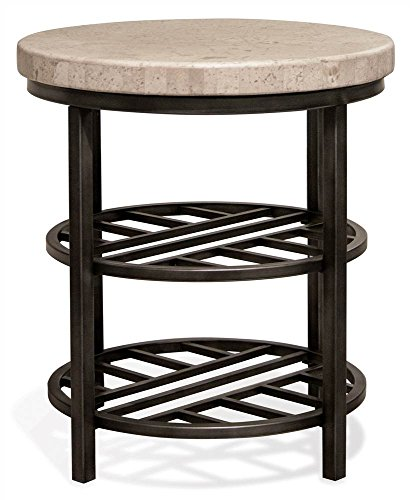 Riverside Furniture End Table with Alabaster Travertine Top