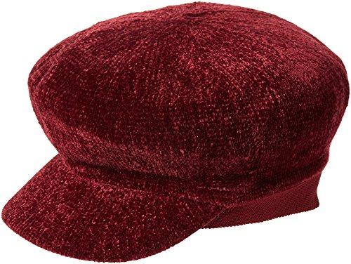 New Look New Look Damen Chenille Bakerboy Pork Pie Hut, Red (Dark Burgundy), One Size