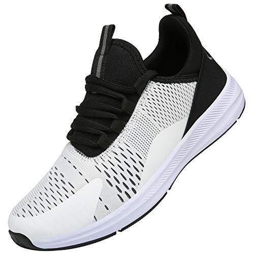KOUDYEN Uomo Donna Scarpe da Ginnastica Corsa Sportive Fitness Trail Running Leggera Sneakers Basse XZ476-BlackWhite-EU41