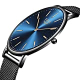 LIGE Herren Uhren Mode Wasserdicht Sport Analoger Quarz Uhr Beiläufig Ultra-Thin Dial Blau Edelstahl Mesh Armbanduhr Maenner