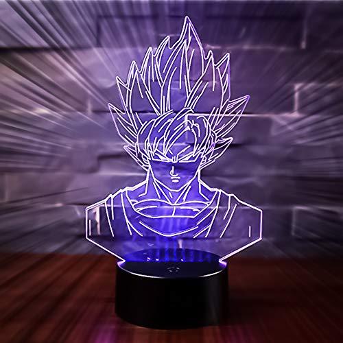 3D Lámpara óptico Illusions Luz Nocturna, CKW 7 Colores Cambio de Botón Táctil y Cable USB para Cumpleaños, Navidad Regalos de Mujer Bebes Hombre Niños Amigas (Dragon ball 1)