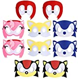 All Star Games Felt Masks for Sonic Party - 10 Masks - Comfortable, One-Size-Fits-Most Design - Premium Quality Eco-Felt and Fleece. Great for Birthday, Gift, Party Favor, Cosplay!