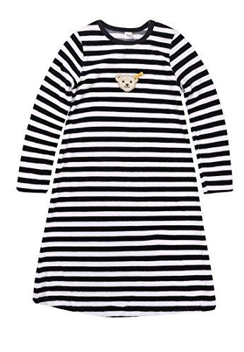 Steiff Mädchen Nachthemd 1/1 Arm, Gestreift, Gr. 122, schwarz/weiß (Steiff schwarz/weiß 3032)