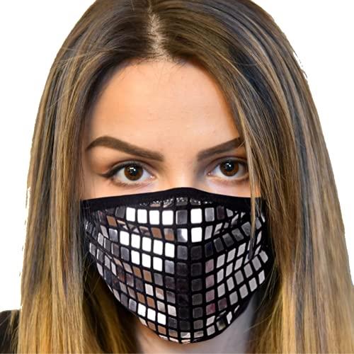 Designer Rhinestone Sparkly Face Mask - Women Bling Fancy Glitter Stylish Sequence Fashion Washable Masquerade Mask