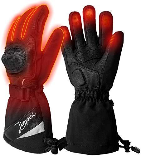 J JINPEI Beheizte Handschuhe Motorrad Herren und Damen mit 3 Stufen Temperaturregler, Beheizbare Handschuhe Schwarz mit 7.4V 2200 mAh Akku für Radfahren, Motorrad, Winterski und Eislaufen Größe