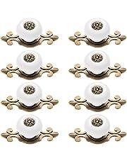 Yardwe 8 STKS Vintage Retro Stijl Keukenkast Kast Lade Deurknoppen Metalen Trekhengsels (Wit+Gebruind)