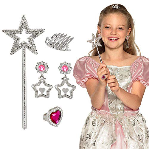 Boland 44088 – Juego de princesas, peine para el pelo, 2 pendientes, anillo y varita mágica, color plateado y rosa, para niños, bisutería, juego de disfraces, accesorios, carnaval, fiesta temática