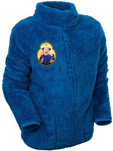 Brandsseller Kinder Fleece Jacke Feuerwehrmann Sam Fireman Kuscheljacke mit Stehkragen (98/104, Blau/Motiv 2)