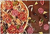 Wallario XXL Poster - Pizza mit Tomaten, Salami, Oliven und