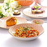 Vancasso Natsuki 48-teilig Porzellan Geschhirrset, mit je 8 Kaffeebecher 380 ml, Müslischalen Ø 15,2 cm, Dessertteller Ø 21,5 cm, Speiseteller Ø 27 cm, Suppenteller Ø 21,5 cm und Dipschälchen - 8