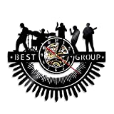 hxjie Pulseras de música Rock-Heavy Metal, Relojes de Pared, Siluetas, Paredes artísticas, batería, melodía, conciertos, actuaciones en Vivo, Discos de Vinilo Sin LED