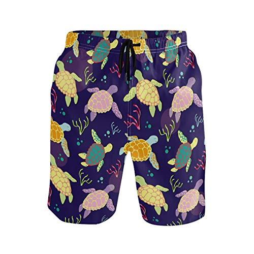 SENNSEE Bunte niedliche Schildkröten-Badehose für Herren und Jungen, schnelltrocknend, Strandshorts mit Taschen Gr. Verschiedene Größen, mehrfarbig