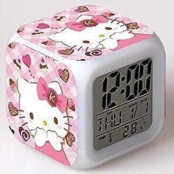 Hello Kitty Maruko 7 Colors Changing Digital Clock LED Alarm Clock Lovely Cartoon Night Light Alarm Clock for Kids,Birthday Gifts,Style 46