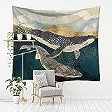 Micaza Fisch Wal Wandteppich Wanddecke, Sonnenuntergang Wal Wandteppich Natur Landschaft Dekor Wanddecke Polyester Gedruckt Wandteppich-h 95x73cm(37x29inch)