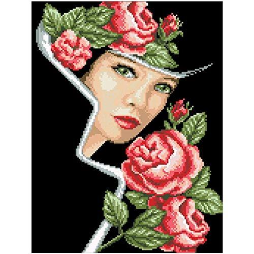 PJX Rose Lover Cross Beauty-pakket vrouw meisje 18 karaat 14 karaat 11 karaat zwart katoenen garen stof borduurwerk DIY handwerk draad set zijde draad_18 karaat onbedrukt canvas