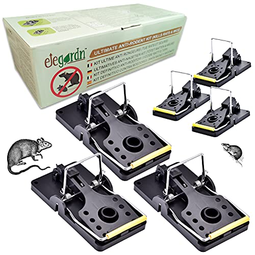 Elegardn Ultimate Rodent Control Kit 3 Grandes trampas para Ratas y 3 pequeñas trampas para Ratones de Grado Profesional Altamente efectivas sin Veneno con Tanques de Cebo