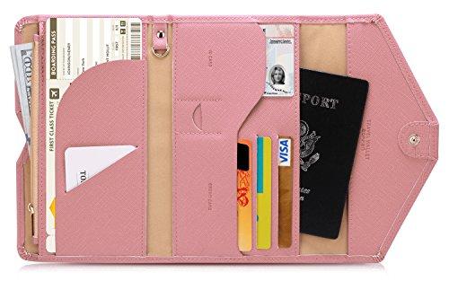 Zoppen Mulit-purpose Rfid Blocking Travel Passport Wallet (Ver.4) Tri-fold Document Organizer Holder, 6 Quartz Pink