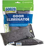 Gonzo Bamboo Charcoal [2 Small Bags 75g] Odor Eliminator Bags Natural Purifying Charcoal Odor Absorber Air Freshener For Home Drawers Pets Gym Bag