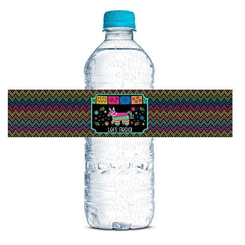 Pinata Hittin' Neon Fiesta Themed Waterproof Water Bottle Sticker Wrappers, 20 1.75
