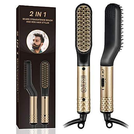 Plancha de Pelo Barba, Cepillo Alisador de Barba Plancha de Pelo con Cepillo Caliente,2 in 1 Peine Electrico Barba para el cabello y barba de los hombres,Cepillo de peinado para viajes/negocios