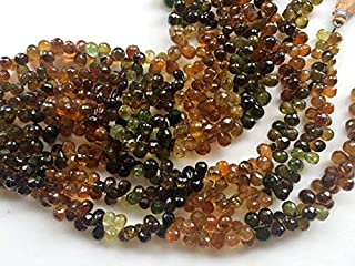 8 inch strand natural petro tourmaline 6x8 mm tear drop faceted beads - jewelry - petro tourmaline faceted teardrops, tourmaline beads, petro tourmaline necklace, 6x8mm, 8 inch,