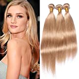 #27 Honey Blonde Brazilian Human Hair Weave Bundles 3Pcs 300Gram Strawberry Blonde Straight Virgin Hair Extensions Blonde 3 Bundle Deals Mixed Length (20 20 20)