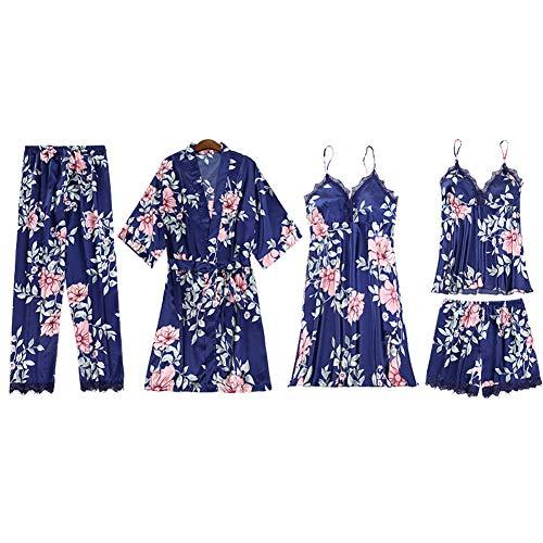 Mujer Conjunto de Pijama de Encaje Sexy Satinado Ropa de Dormir, 2/3/4/5 Piezas Kimono Bata,Albornoces,Camisón,Cami Vestido,Chaleco,Camisola,Pantalones Cortos y Largo,Estampado Floral 5 Pedazo A XL