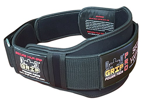 "Grip power pads gym weightlifting 6"" wide neoprene double belt image"