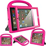 Surom Kids Case for iPad 2 3 4 (Old Model)- Built-in Screen Protector, Shockproof Handle Stand Kids Friendly Protective Case for iPad 2nd 3rd 4th Generation, Rose Pink