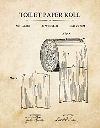 Vintage Toilet Paper Patent Wall Art Prints – 11x14 UNFRAMED Design from Original Blueprint Drawing - Photo Bathroom Decor Gift Great for the Wife, Husband, Daughter, Girlfriend, Grandmother.