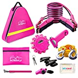 HLWDFLZ Car Emergency Kit, Pink Roadside Assistance Kit with Jumper Cable, Tow Rope, LED Road Flare, Deer Whistles and More Women Emergency Safety Tool Kit