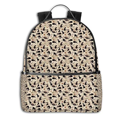 College Backpacks for Women Girls,Hand Drawn Feline Pattern House Pet Playing with Mouse and A Ball of Yarn,Casual Hiking Travel Daypack