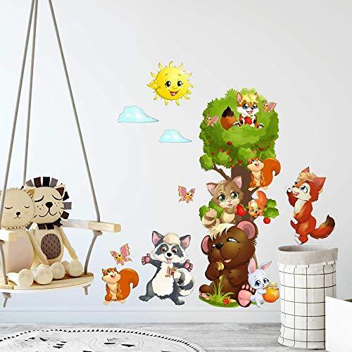 R00363 Pegatina Vinilo Pared Suave Efecto Tejido Decoración Niño Bebé Habitación Infantil Guardería Papel Pintado Autoadhesivo Bosque Árbol