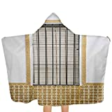 Baby Hooded Bath Towel Image of Modern Spanish Window and Shutters with Mosaic Patterns Urban City Life Unisex Toddler Bath Towels Super Absorbent and Hypoallergenic Brown White 51.5x31.8 Inch
