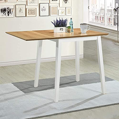 GOLDFAN Drop Leaf Dining Table Oak Rectangular Small Wooden Kitchen Table with Solid Wood Legs for Dining Room Home Lounge,White