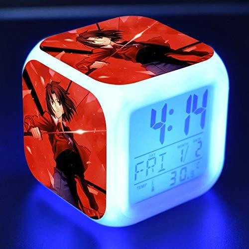 Nachtkastje voor kinderen, digitale wekker LED kleurrijk nachtlampje wekker stemming alarm vierkant klok touch-schakelaar mute-schakelaar met USB-aansluiting voor opladen reis kleine wekker kinderen geschenk Q165