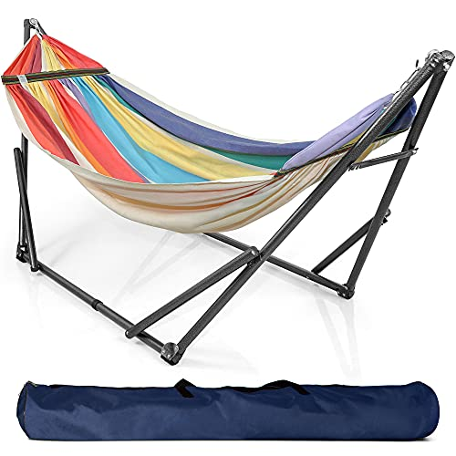 Tranquillo EC17 Universal Hammock Stand-1.2mm Thickness Steel Frame with Hanging Net, Double, Rainbow