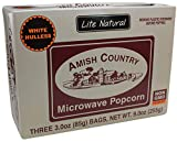 Amish Country Popcorn - Old Fashioned Microwave Popcorn - Gluten Free, and Non GMO with Recipe Guide (Lite Natural White Hulless, 3 Bags)