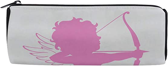 Funny Cupid Character with Bow and Wing Students Super Large Capacity Barrel Pencil Case Pen Bag Cotton Pouch Holder Makeup Cosmetic Bag for Kids