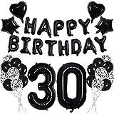 Negro 30 Conjunto de Decoraciones de Fiesta de Cumpleaños para Adultos Mujer Hombre - Negro HAPPY BIRTHDAY Globo Bandera Número 30 Globo de Papel Estrella Corazón Papel Picado Globos de Látex