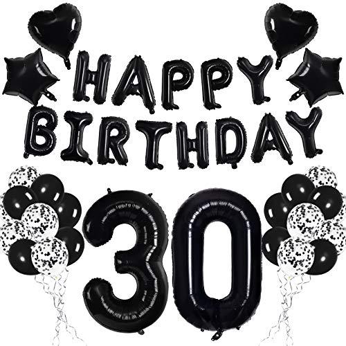 Nero 30 Set di Decorazioni per feste di Compleanno per Adulti Donne Uomo - Nero HAPPY BIRTHDAY Lettera Palloncino Banner Numero 30 Palloncino Foil Nero Stella Cuore Coriandoli Palloncini in Lattice