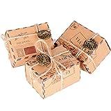 50 Pcs Cajas de Papel Kraft de Caramelo Dulces Bautizo Bombones Regalos Recuerdos Detalles para Invitados de Boda Fiesta Comunion Graduación Decoración Favor Boda