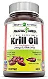 Amazing Omega Superba Krill Oil 500 Mg Softgels (Non GMO,Gluten Free) - 200mg Omega 3 Fatty Acids with 120 mg EPA & 56 mg DHA in Per Serving of 2 Softgels - Best Omega 3 Supplements (120 Count)