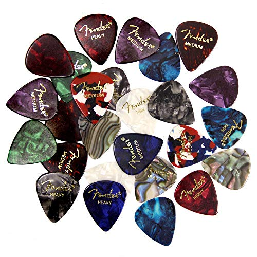 Fender Muestreador de púas premium – paquete de 24 incluye medidores finos, medianos y pesados